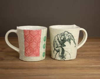 Vintage Elephant Mug| Bike Inspired Mug| Dreamy Pottery| Tea Cup| Graduation Gift