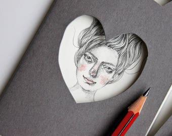 Personalised grey Moleskine pocket journal. Altered notebook with original hand drawn portrait illustration. Custom gift for writer / poet
