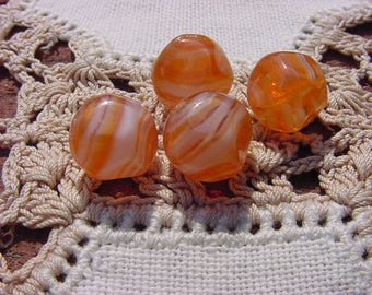 Coral Satin Givre Nuggets Vintage Glass Beads