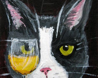 Funny Cat Art - Tuxedo Cat with Wine  - Mylo is a Wino -- 5x7 print in 8 x 10 Mat - Cat Print - Gift for Cat Lover - Cat painting Print