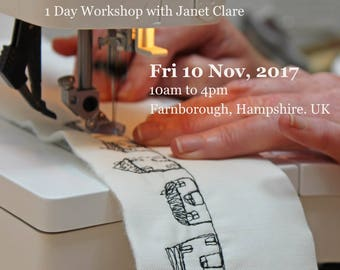 1 Day Workshop - Fri, 10 Nov 2017.   Draw with your sewing machine.   Learn to sketch with free-motion stitching and transform your appliqué