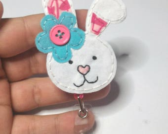 Bunny Badge Reel, Rabbit Badge Reel, Bunny Badge Card Holder,Easter, ID Holder, Nursing Name Badge Holder, Rabbit, Bunny Rabbit Lover Gift