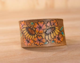 Leather Bracelet - Womens Cuff in the Bloom pattern with flowers - Boho Leather Bracelet in Yellow, Orange, Pink and Antique Brown
