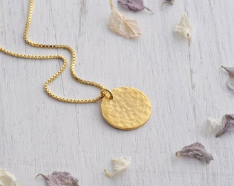 Large Hammered Gold Disc Necklace - Gold Circle Necklace - Gold Disc Pendant - Layering Necklace - Textured Disc Pendant