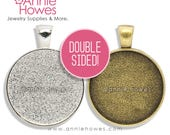 """Double Sided 25mm 1 Inch Circle Pendant Setting. Annie Howes. 25mm or 1"""".  Silver and Vintage Gold Available. 10 Pack."""