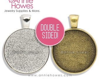 "Double Sided 25mm 1 Inch Circle Pendant Setting. Annie Howes. 25mm or 1"".  Silver and Vintage Gold Available. 10 Pack."