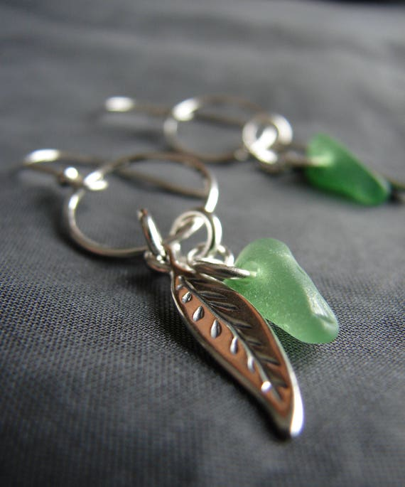 Boho Beach green sea glass earrings