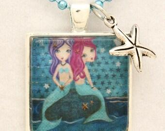 Mermaid Necklace- Kids Jewelry- Girls Accessories- Mermaid Jewelry- Gift Under 20- Gift for Girl - Stocking Stuffer-Childrens Jewelry
