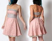 Pink strapless dress, Pink and grey floral cocktail dress, Pink women dress, Pale pink short backless dress, size UK 10