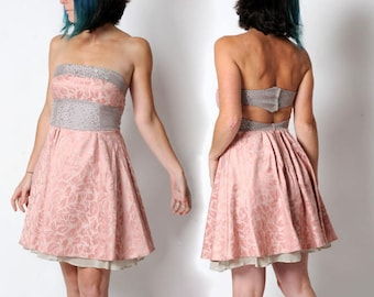 SALE Pink strapless dress, Pink and grey floral cocktail dress, Pink women dress, Pale pink short backless dress, size UK 10