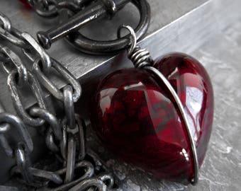 Ver. 6 | Heart of Darkness - Dark Red Heart Pendant Necklace, Deep Red Sexy Valentine Jewelry - Love Gift for Goth Gothic Girlfriend Rocker