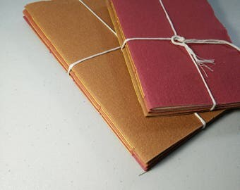 Set of 3 handmade journals | notebooks | assorted notebooks | Fire - reds and oranges | fountain pen ink |