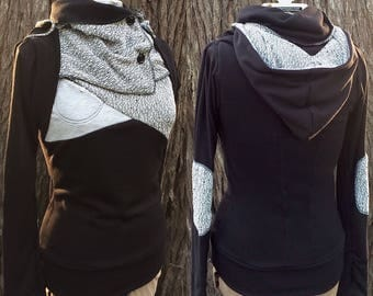 Light black sweater with cowl and color block detail. Thumbhole sleeves, elbow patches. Made to order, custom sized, plus size cowl sweater.