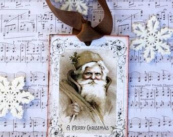 Old Fashion Santa Claus Christmas Gift Tags