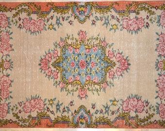 Carpet Bright Floral 5' x 8.5' Rug Overdyed Vintage Nostalgic