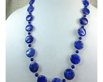 Lovely Dark Blue Coin Shaped Round Flat Lapis Stone Beaded Necklace