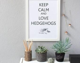 Scandinavian print - Keep Calm and Love Hedgehogs office decor - instant download - kids hedgehog gift - printable poster - nursery wall art