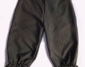 Pinstripe & Lace Cropped Trousers, Steampunk bloomers, Goth. Size 12-14 UK.