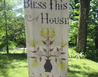 Vintage Linen Tea Towel/ Dish Towel - Bless This House - Yellow and Brown