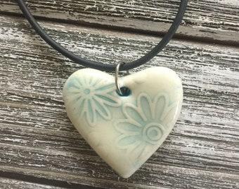 Pale Aqua Floral Porcelain Heart Pendant