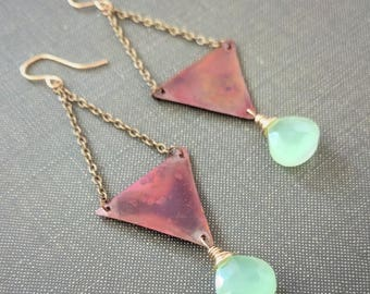 copper patina triangle earrings