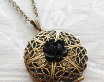1/2 Price Sale- Scent Locket Necklace with Black Rose Flower Charm