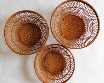 Vintage Baskets Set of Three Wall Hanging Seventies