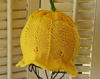6-12M Yellow Baby Hat Tulip Flower Fairy  Easter Summer Cotton Beach Hat