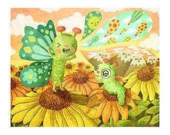 Grand Adventures - Butterfly Print Nursery Art Butterfly Art Print Butterfly Illustration Gender Neutral Baby Animal art print Floral