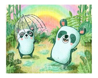 Jungle Pandas - Cute Panda Print Cute Nursery Art Panda Art Print Panda Illustration Gender Neutral Baby Jungle Nursery Art Cute Animal Art
