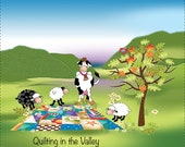 Quilting in the Valley - Fabric Art Panel