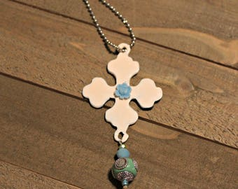 Rusty Cross Pendant - Pink Cross Shabby Chic necklace - rose and cross