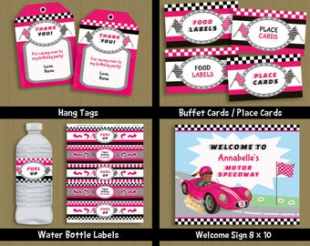 Race Car Party printable birthday collection invite & decorations - African American Girl INSTANT DOWNLOAD P-52 set 1 - with editable text