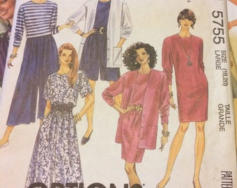 UNCUT Vintage 80's Sewing Pattern McCall's 5755 Misses' Dress, Cardigan, and Split Skirt Bust 40-42 Size 18-20  Uncut Complete