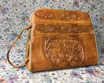 Vintage Tooled Leather Satchel
