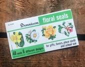 Vintage Dennison Floral Seals - Book of 48 Seals - Dennison Seals, Vintage Flower Stickers, Vintage Nature, Vintage Junk Journal Ephemera