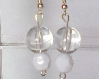 Clear Striped Round with White Faceted Round Beaded Earrings