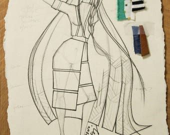 Fashion Sketch Created by Project Runway's Valerie Mayen, Fashion Wall Art, Home Decor, Perfect for a girls bedroom, Fashion illustration
