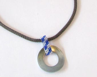 Blue Industrial Necklace - Washer Necklace - Metal Pendant - Hardware Necklace - Stainless Steel Pendant - Blue Striped Pendant
