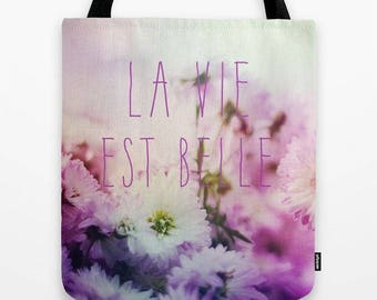 pretty florals with french quote tote bag-fabric carry all bag-market tote-french words-pink and white-shabby chic style-gift for her