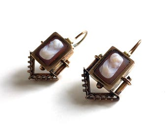 Antique Victorian Etruscan Aesthetic Movement Cameo Gold Filled Pierced Dangle Drop Earrings