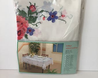 Vintage Tablecloth New in Package Vinyl Printed Lace and Floral 90 X 60 Inches Oblong Rectangle Outdoor Picnic