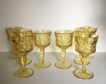 Indiana Glass Constellation Yellow Mist Water Goblets Set of Eight Heavy Weight Wine Glass Tableware Barware