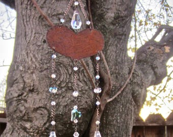 Rustic Crystal Sun Catcher | Heart Prism Mobile | Valentine Gift | Feng Shui Garden Decor