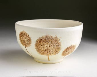 Stoneware Bowl - Salad Bowl - Pasta Bowl - Pottery Bowl - Cereal Bowl - Soup Bowl - Botanical Bowl - Dandelion Wish Puff