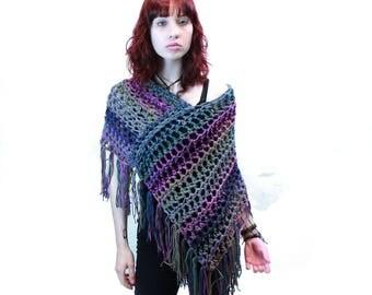 Poncho crochet boho gypsy shawl wrap sage green purple