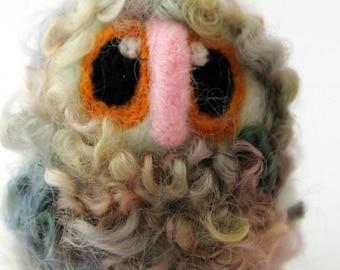 Owl Baby Minty Needle Felted OOAK Owl Baby in Hand Dyed Wensleydale Wool