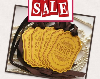 Bachelorette Party Candy Sweet Tags - Yellow and Brown - Buffet Table or Wedding Favor Tags, Party Tags SET of 5 - Code S11