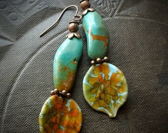 Lampwork Headpins, Lampwork Glass, Leaves, Glass, Turquoise, Rustic, Earthy, Organic, Copper, Beaded Earring