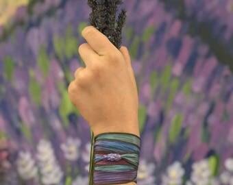 Wrap Bracelet with Handmade Lavender Glass Bead on Adjustable Silk Ribbon